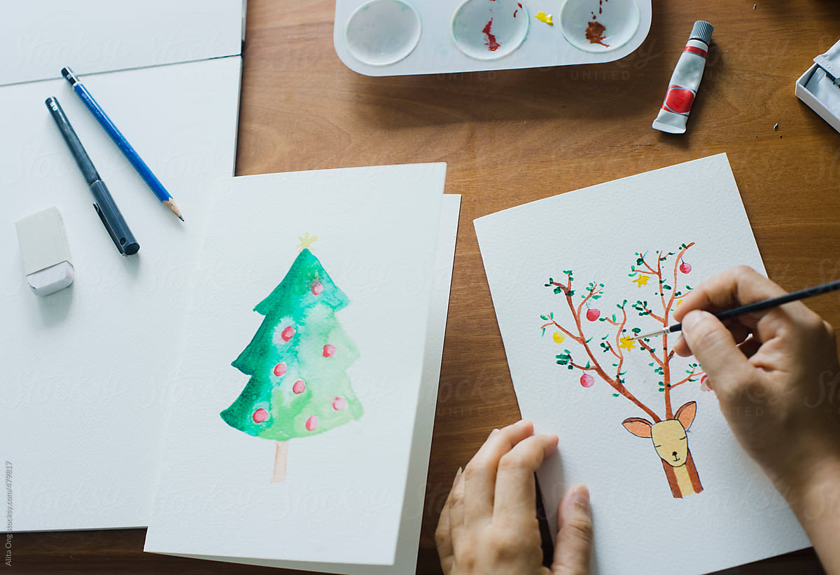 Watercolor Christmas Cards.Diy Watercolor Christmas Card By Alita Ong Stocksy United