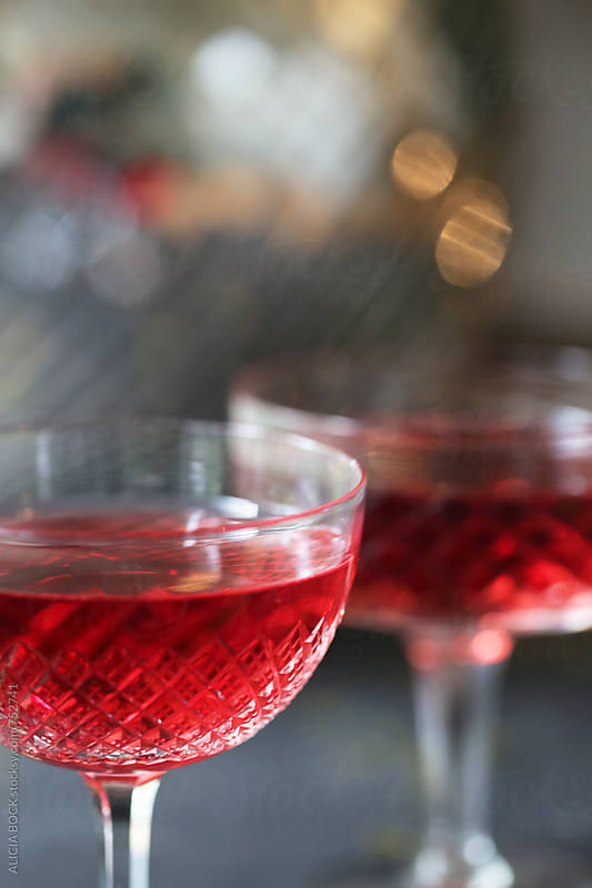 Rosé Wine In Vintage Crystal Glasses At A Party by ALICIA BOCK for Stocksy United