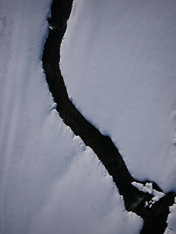 Ice drift on the river from drone by rolfo for Stocksy United