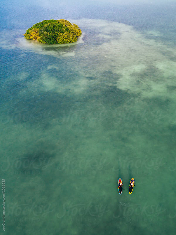 Aerial drone image of two women stand up paddleboarding in the ocean by Jen Grantham for Stocksy United