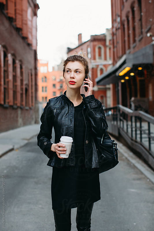 Business woman on the phone by michela ravasio for Stocksy United