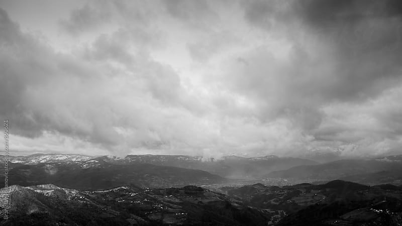 Black and White Landscape with Dramatic Sky by Branislav Jovanović for Stocksy United