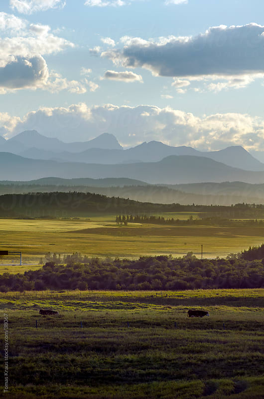 landscape of foothills and the mountains by Tomas Kraus for Stocksy United