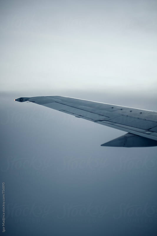 airplane wing in flight,minimal design by Igor Madjinca for Stocksy United