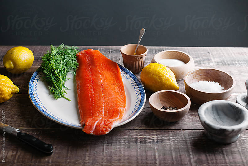 Series showing the making of salmon gravlax from start to finish. Ingredients for gravlax. by Darren Muir for Stocksy United
