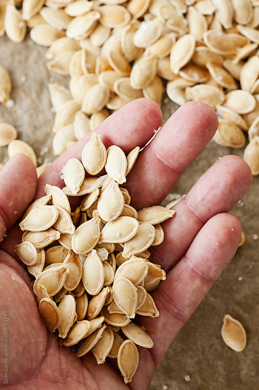 Hand Holding Roasted Pumpkin Seeds by Sean Locke for Stocksy United