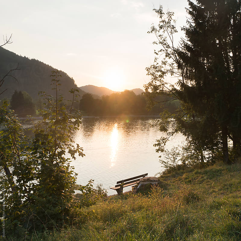 Bench at lake Hintersee in summer in austria by Robert Kohlhuber for Stocksy United