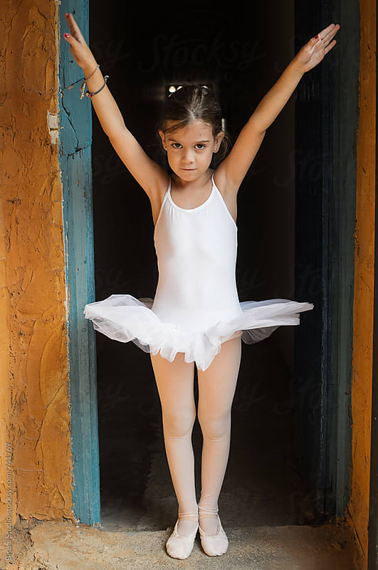 Little ballerina practicing before a rehearsal by Bisual Studio for Stocksy United