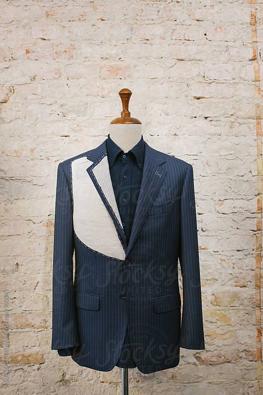 Expensive Blue Pinstripe Suit on Hanger Stand by Julien L. Balmer for Stocksy United