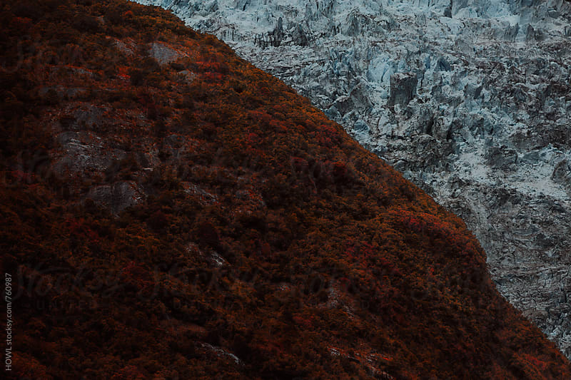 The split terrain between a rocky, icy glacier and the red umber colored grass by HOWL for Stocksy United