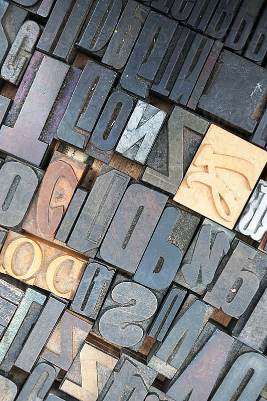 Collection of used print letters by Marcel for Stocksy United