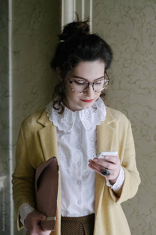 Stylish Businesswoman Using Phone by Aleksandra Jankovic for Stocksy United