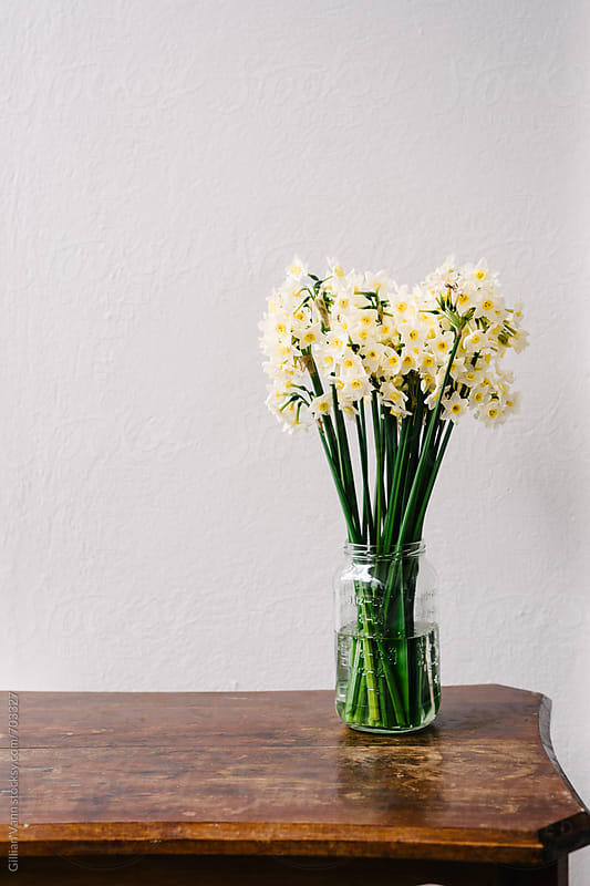 jonquils in a vase on a timber table agains a plain wall by Gillian Vann for Stocksy United
