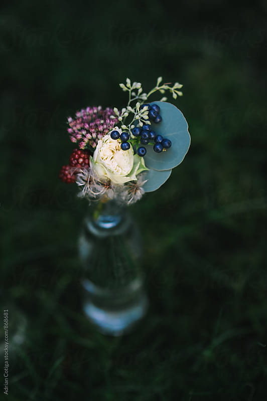Flowers in a bottle by Adrian Cotiga for Stocksy United
