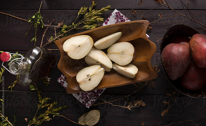 Platter of Anjou Pear Slices with Maple  Syrup Glaze by Studio Six for Stocksy United