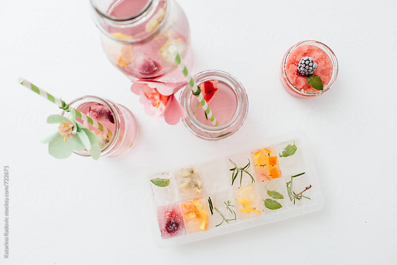 Pastel Arrangement of Rose Tea and Fruity Ice Cubes by Katarina Radovic for Stocksy United