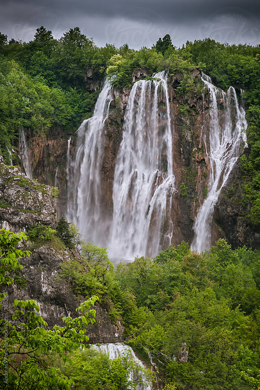 Large Waterfall in Plitvice by Andreas Wonisch for Stocksy United