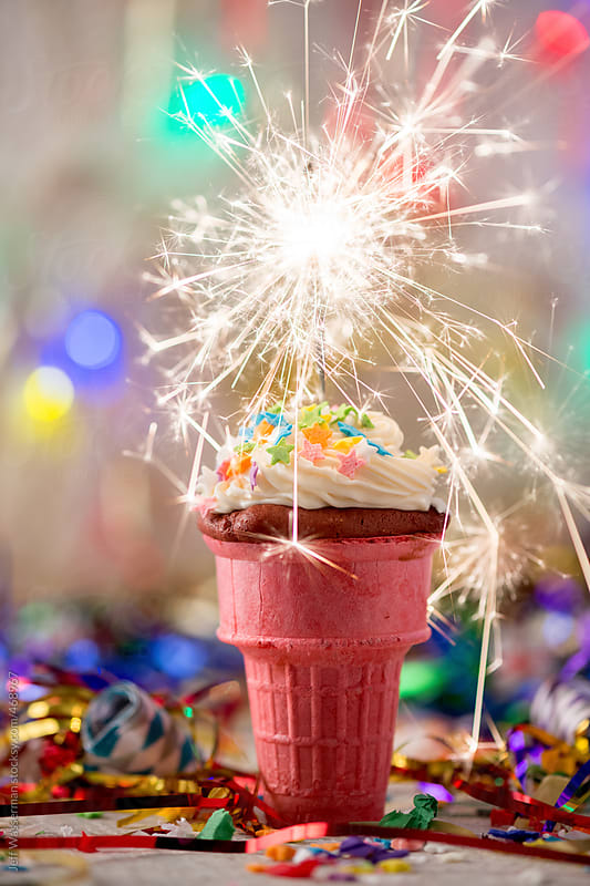 Party Ice Cream Cone Cupcake with Sparkler by Studio Six for Stocksy United